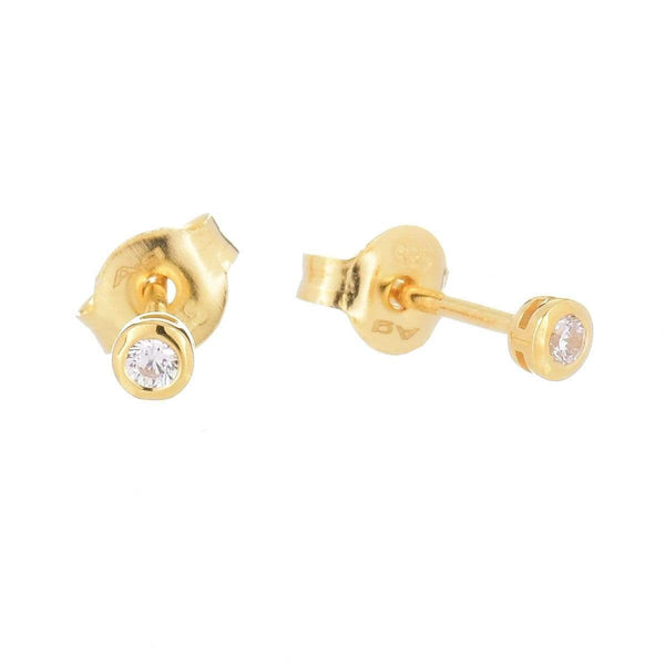 2.0mm Cubic Zirconia Stud Earrings Yellow 5 - Jewellery Shops Online - Bowerbird Jewels
