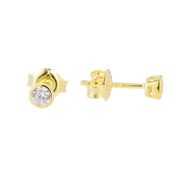 3.0mm Cubic Zirconia Stud Earrings Silver 6 - Jewellery Shops Online - Bowerbird Jewels