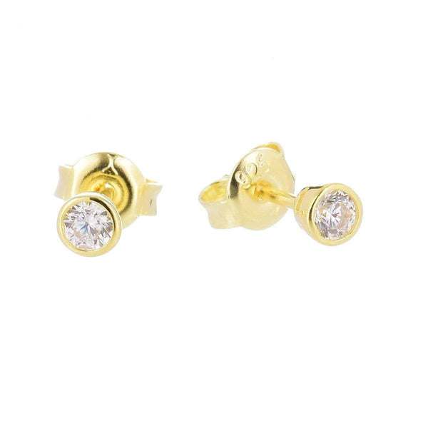 3.0mm Cubic Zirconia Stud Earrings Yellow 5 - Jewellery Shops Online - Bowerbird Jewels