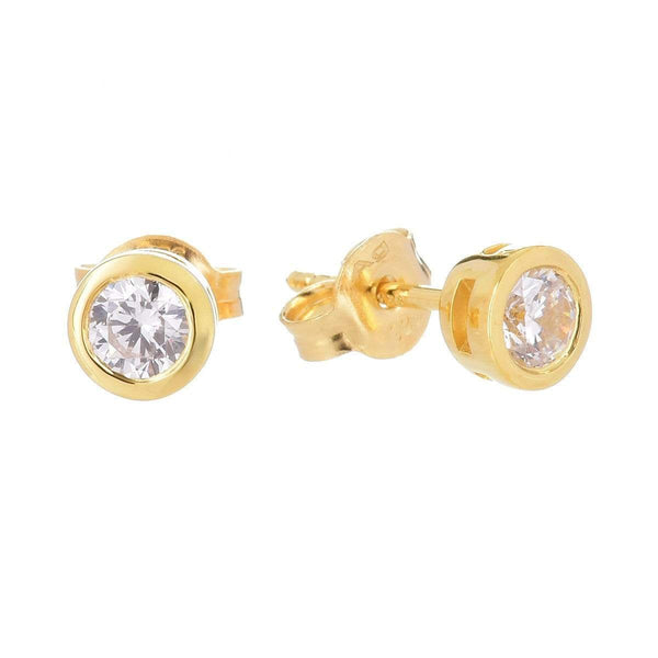 4.0mm Cubic Zirconia Stud Earrings Yellow 5 - Jewellery Shops Online - Bowerbird Jewels