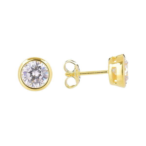 6.5mm Cubic Zirconia Stud Earrings Silver 6 - Jewellery Shops Online - Bowerbird Jewels