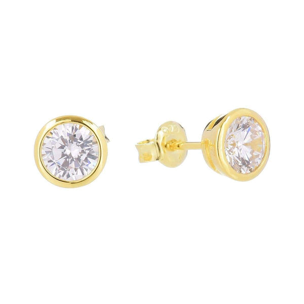 6.5mm Cubic Zirconia Stud Earrings Yellow 5 - Jewellery Shops Online - Bowerbird Jewels
