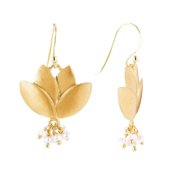 Brushed Lotus Earrings 2 - Jewellery Shops Online - Bowerbird Jewels