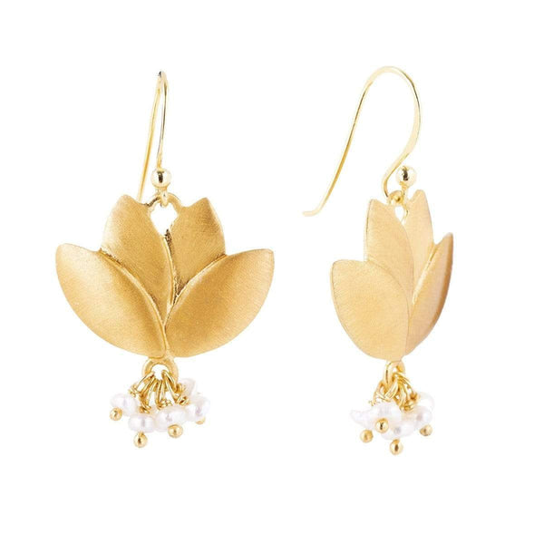 Brushed Lotus Earrings 1 - Jewellery Shops Online - Bowerbird Jewels