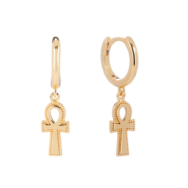 Ankh Huggie Earrings