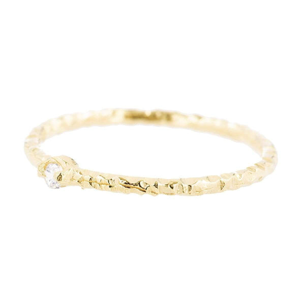 Yellow Gold Dot Ring Cubic ZirconiaJ1/2 2 - Jewellery Shops Online - Bowerbird Jewels