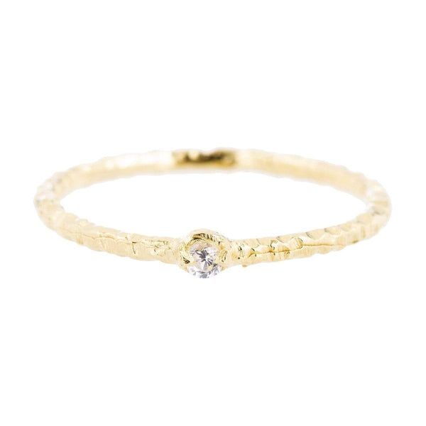 Yellow Gold Dot Ring Cubic ZirconiaJ1/2 1 - Jewellery Shops Online - Bowerbird Jewels