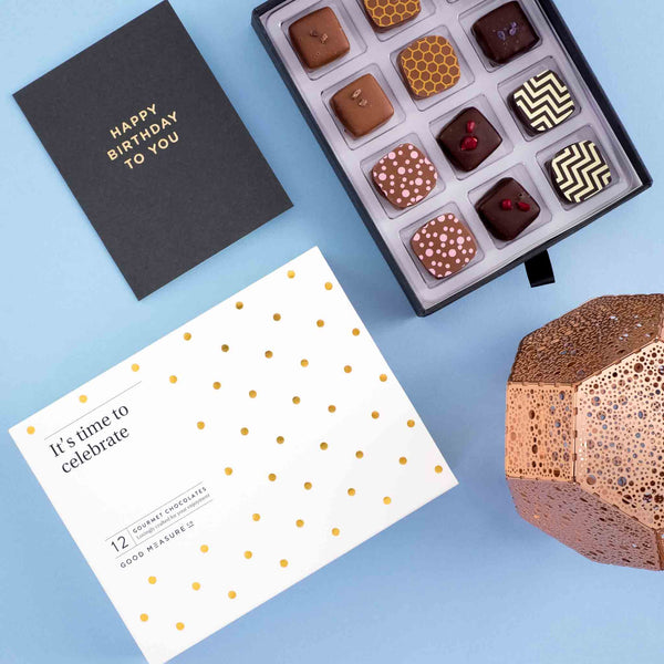 It's time to celebrate <br> 12 Chocolate Truffles