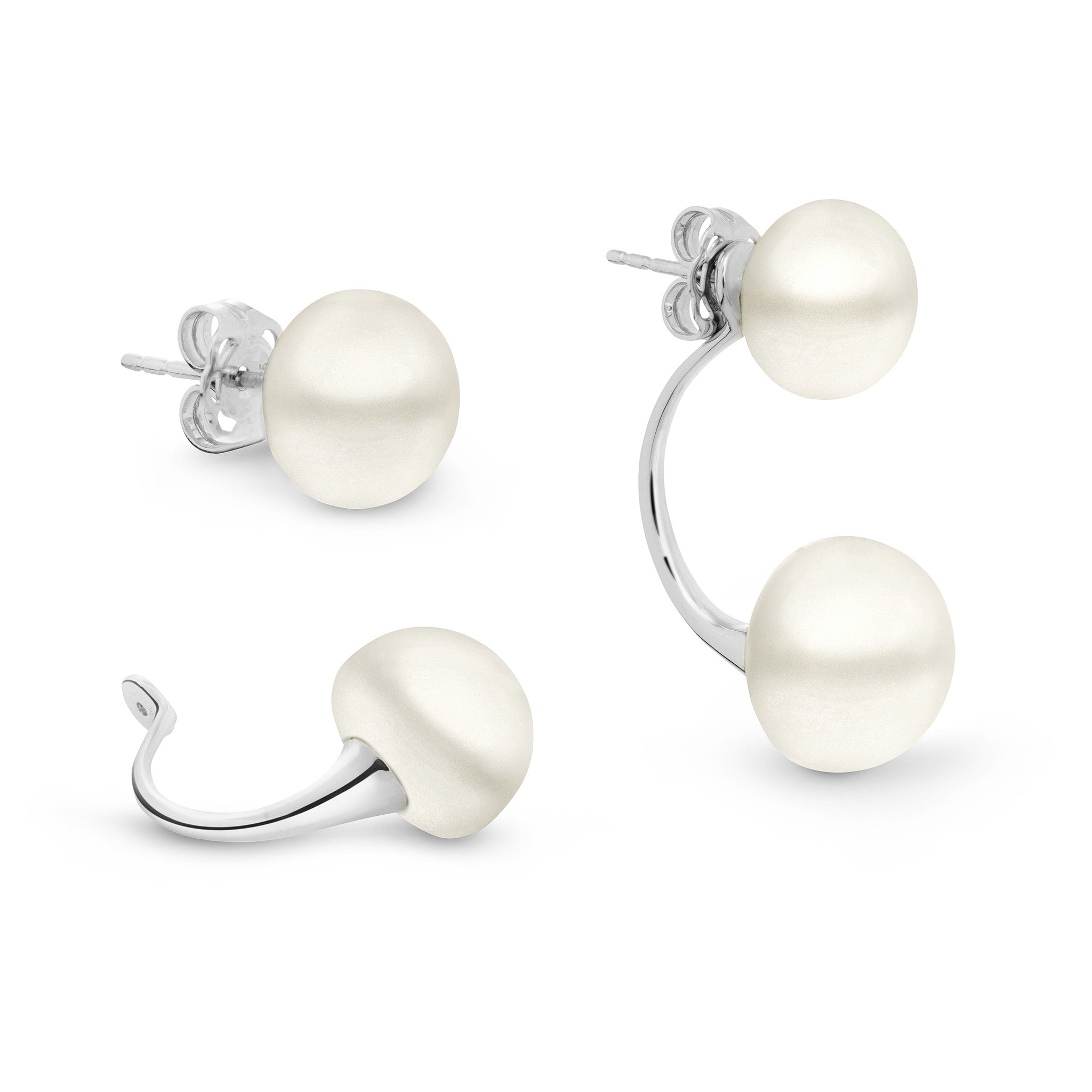 synthetic with silver these white fashioned aeravida petite se stone details cultured pearl signature products a earrings are freshwater stud