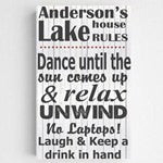Personalized Lake House Canvas Sign B/W