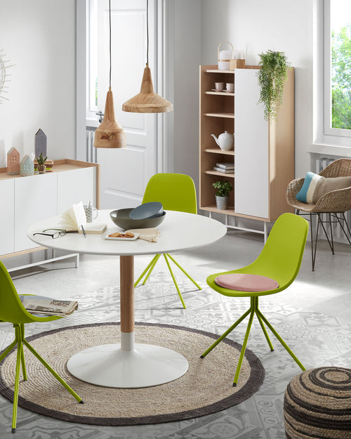 Marco Chair - Lime Green plastic seat and steel legs, Dining Chair - Home-Buy Interiors