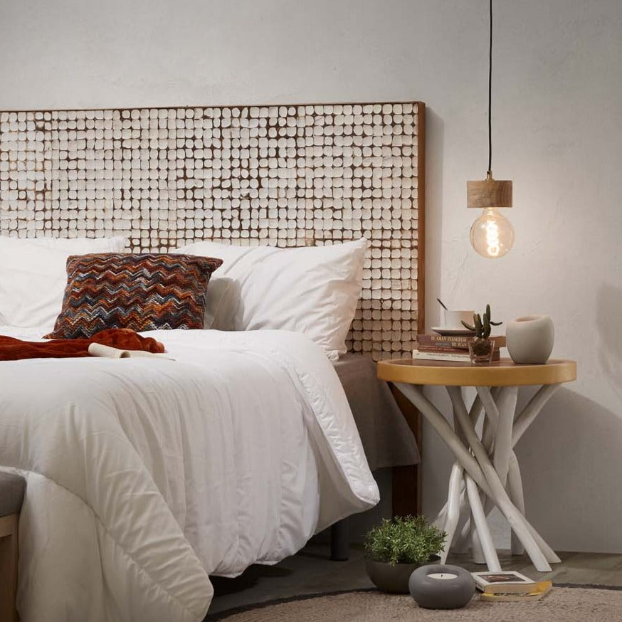 Coconut Mosaic Tile Queen Headboard