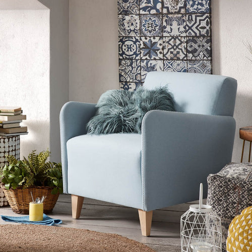Caprinha Armchair in Blue fabric