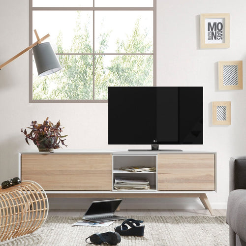 Aarti TV Cabinet in Solid Ash & Matt White, TV Unit - Home-Buy Interiors