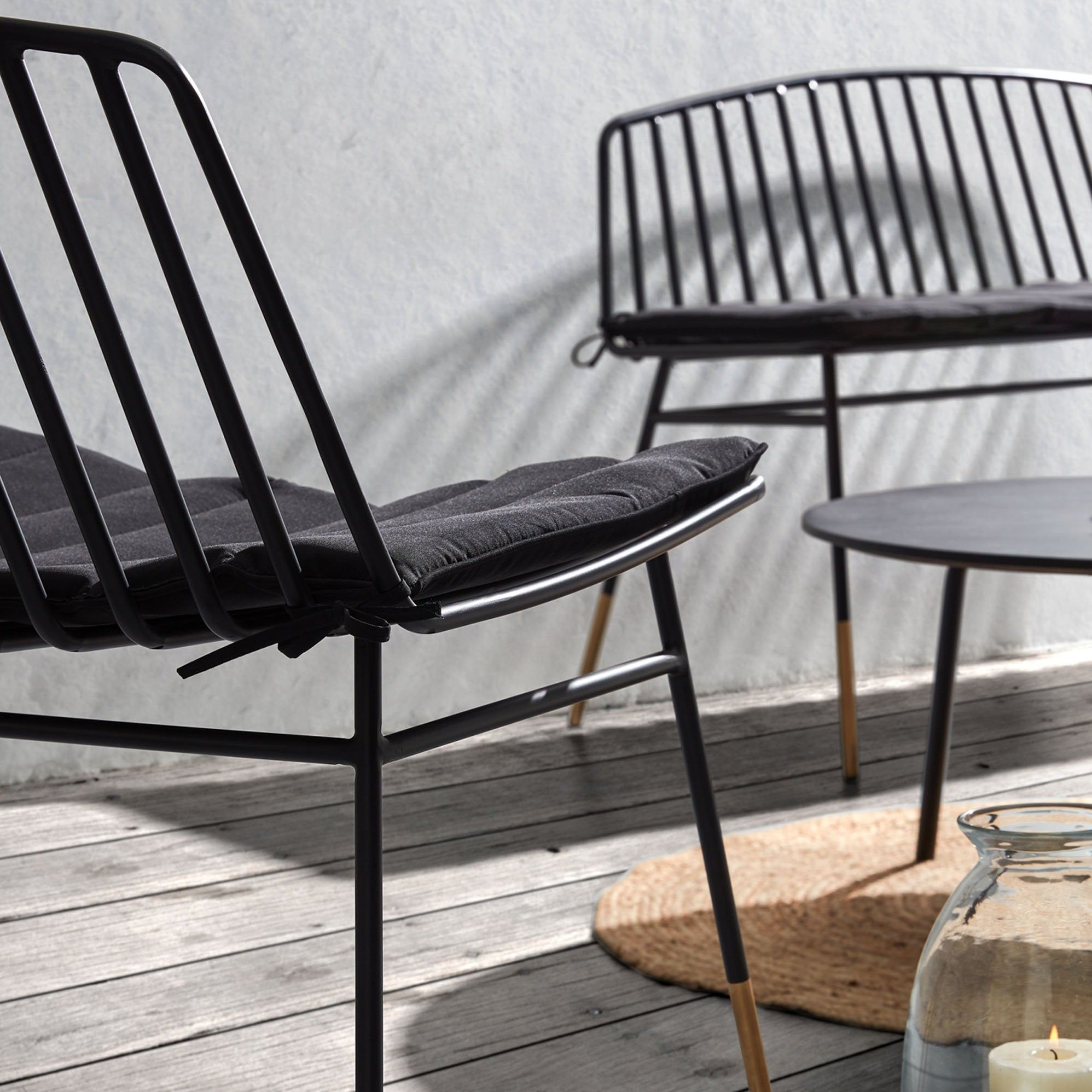 Vanta Alfresco Armchair in Black & Gold