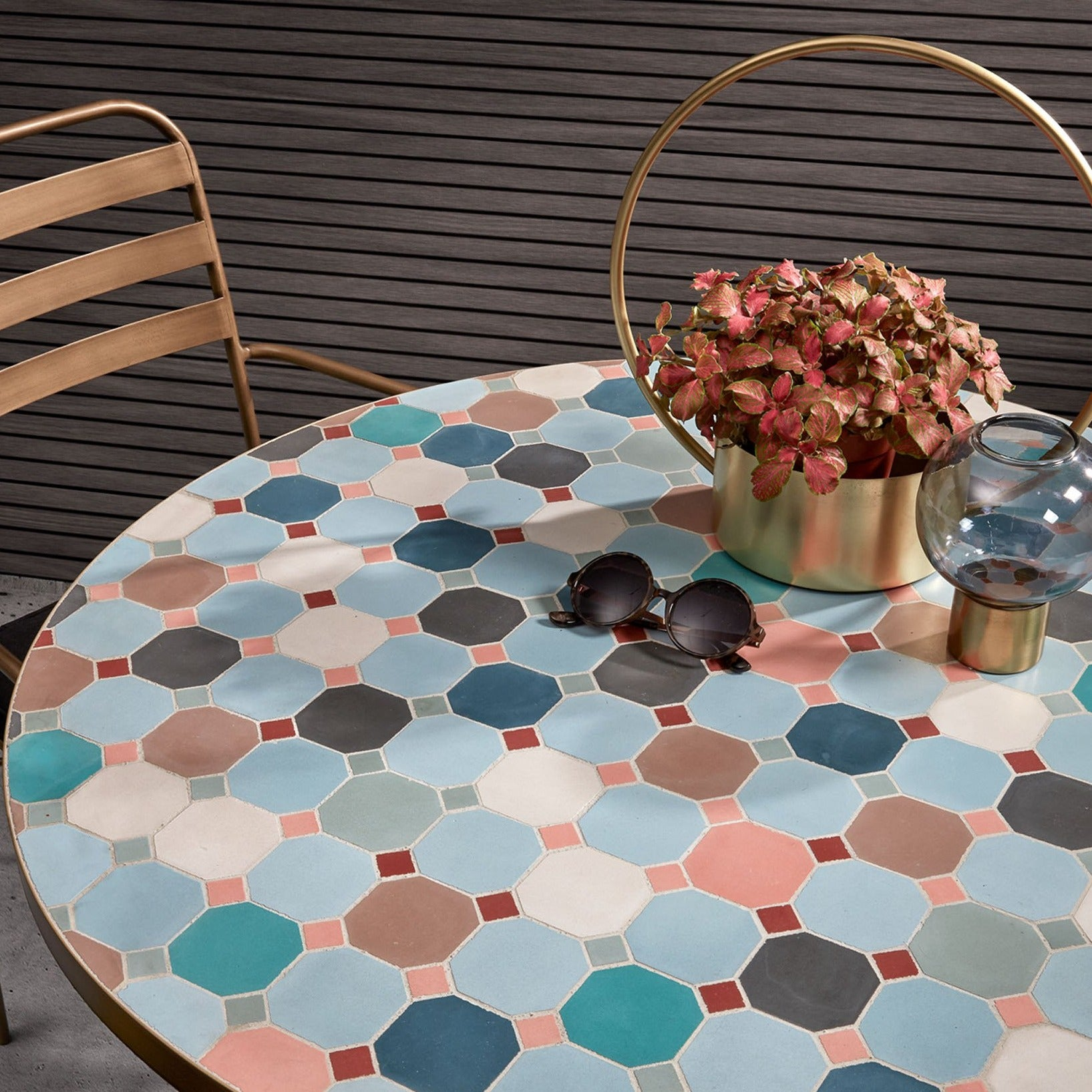 Eliah Mosaic and Gold Dining Table