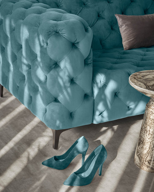 Geisha 2 seater sofa in Teal Green Velvet