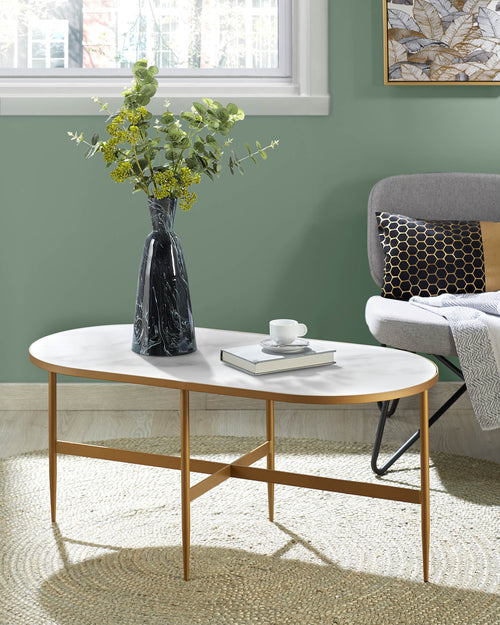 Sienna Coffee Table with gold frame and marble look top