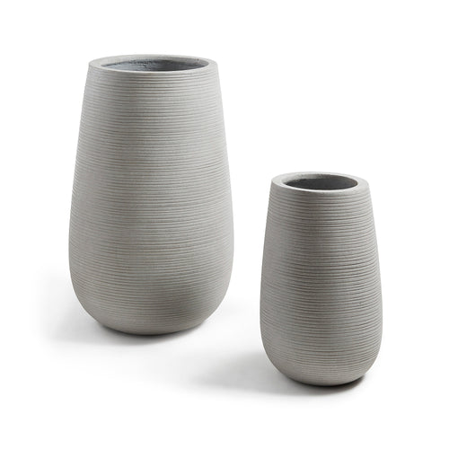 Riley Vase - Set of 2 Cement Grey Vases, Vase - Home-Buy Interiors