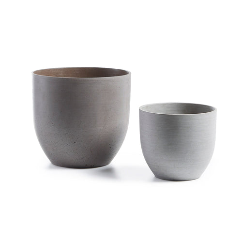 Ruby Planters - Set of 2 Planters Poly-Cement Brown & Grey, Planters - Home-Buy Interiors