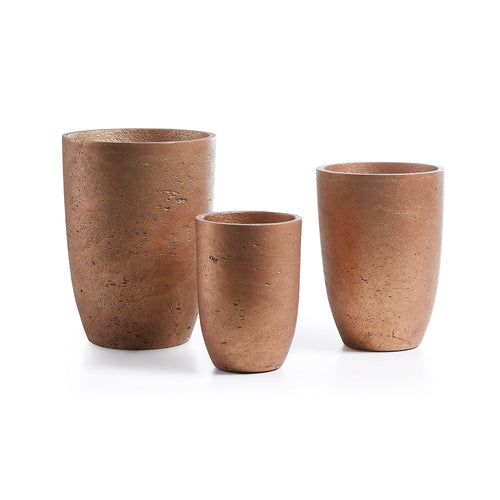 Bailey Planters - Set of 3 Cement Copper Planters, Planters - Home-Buy Interiors