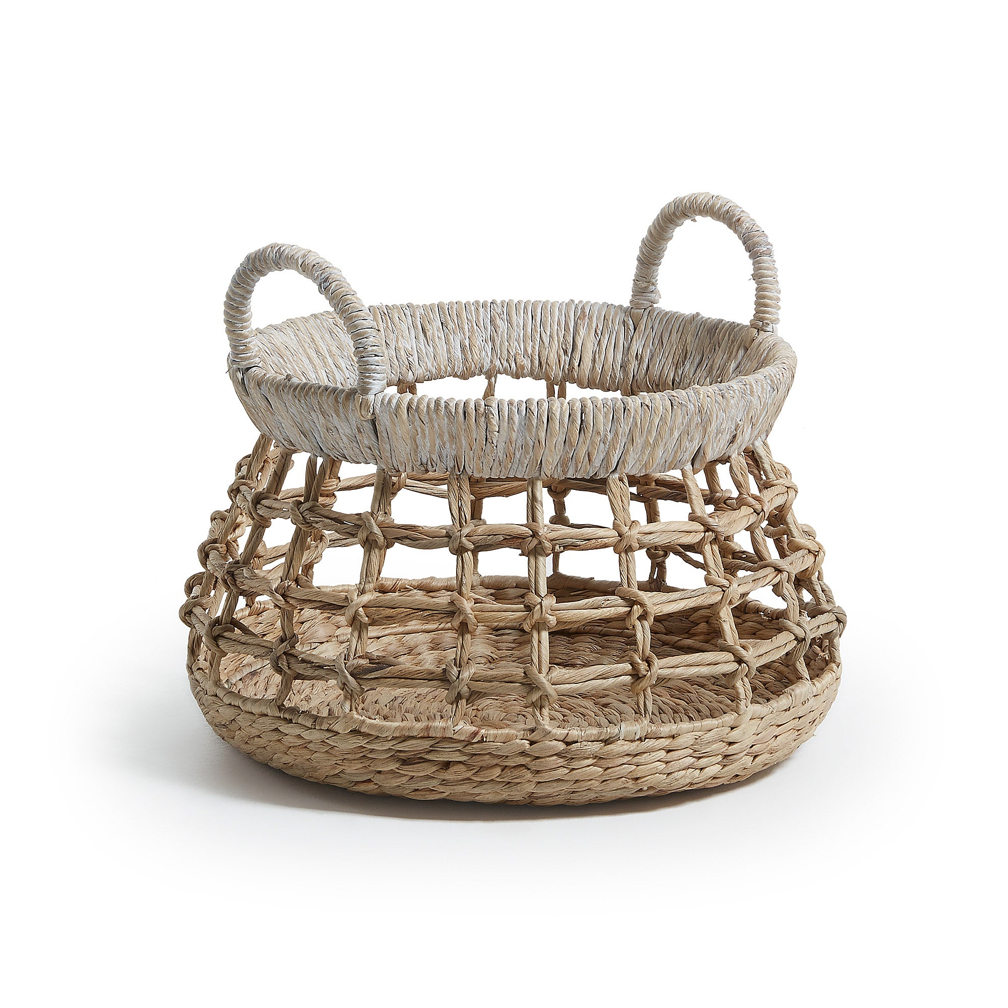 Avery Basket - Natural Water Hyacinth with White Top Detail, Basket - Home-Buy Interiors