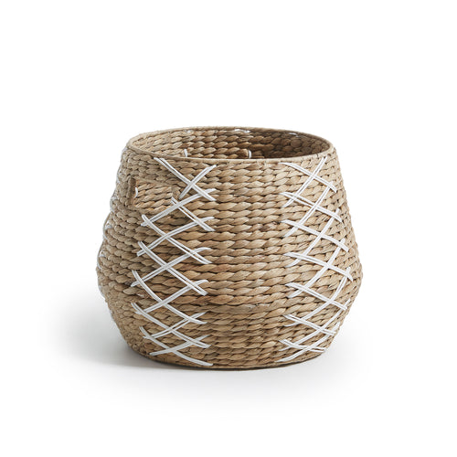 Avery Basket - Natural Water Hyacinth with White Plastic Twisted Detail, Basket - Home-Buy Interiors
