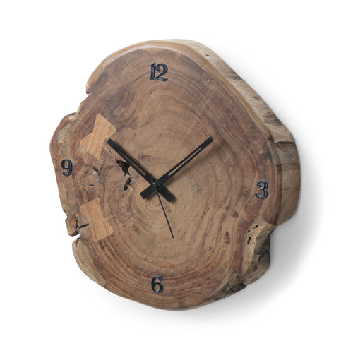 Goldie Wall Clock - Solid Wattle with Metal Details, Wall Clock - Home-Buy Interiors