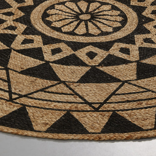 Cher Round Rug - Geometrical Painted Design, Rug - Home-Buy Interiors