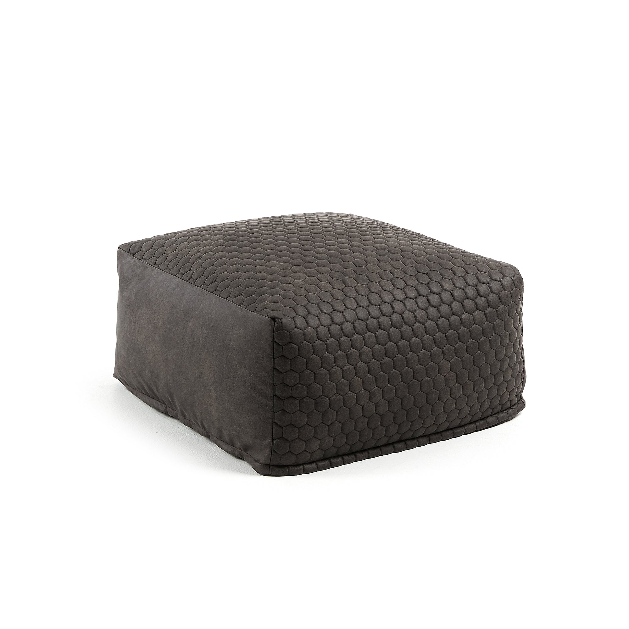 Borna Pouf - Graphite with Honeycomb Detail and Removable Cover, Pouf - Home-Buy Interiors