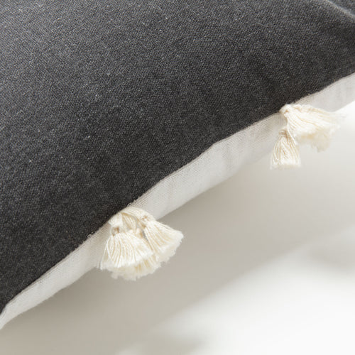 Roger Cushion - Grey Gradient Colour and Pompom Detailing 30 x 50 cm, Cushion - Home-Buy Interiors