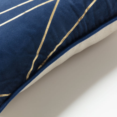 Roger Cushion - Velvet Fabric with Dark Blue and Gold Detail 45 x 45 cm, Cushion - Home-Buy Interiors