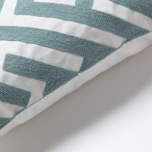 Chinasa Cushion - 100% Cotton Fabric with Green Embroidery 45 x 45 cm - Home-Buy Interiors