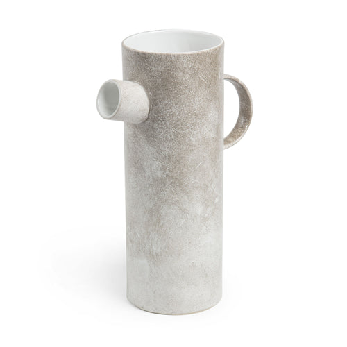 Fu Vase - Ceramic with a Stone Beige Finish 27 cm High, Vase - Home-Buy Interiors