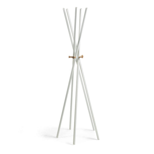 Reyes Coat Rack - Natural Timber with White Steel - Home-Buy Interiors