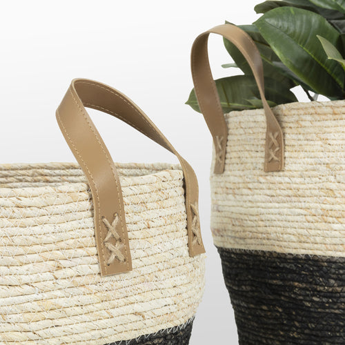 KALKAN Set 3 baskets maize leaf natural black, Accessory - Home-Buy Interiors