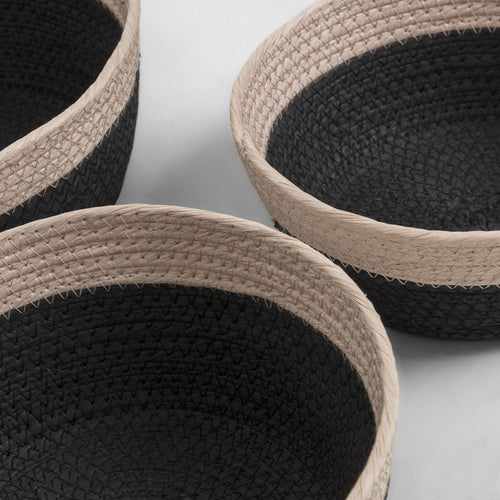 KUOMI Set 3 baskets rope black, Accessory - Home-Buy Interiors