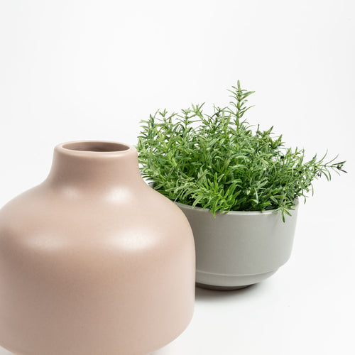 Taylor Vase - Stackable Vase with Bowls with Matt Blush and Green Finish, Vase - Home-Buy Interiors