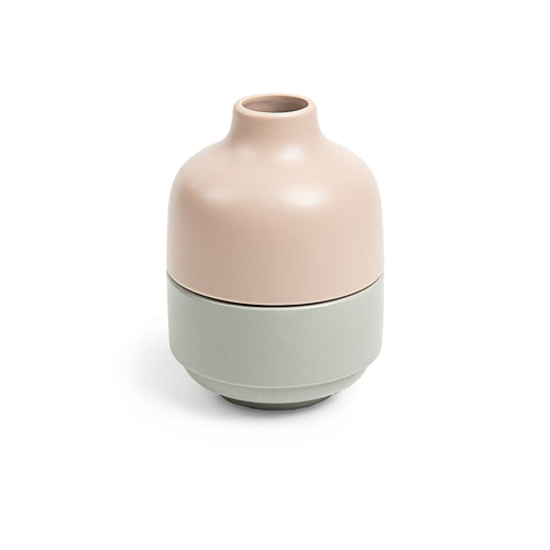 Taylor Vase - Stackable Vase with Bowls with Matt Blush and Green Finish - Home-Buy Interiors
