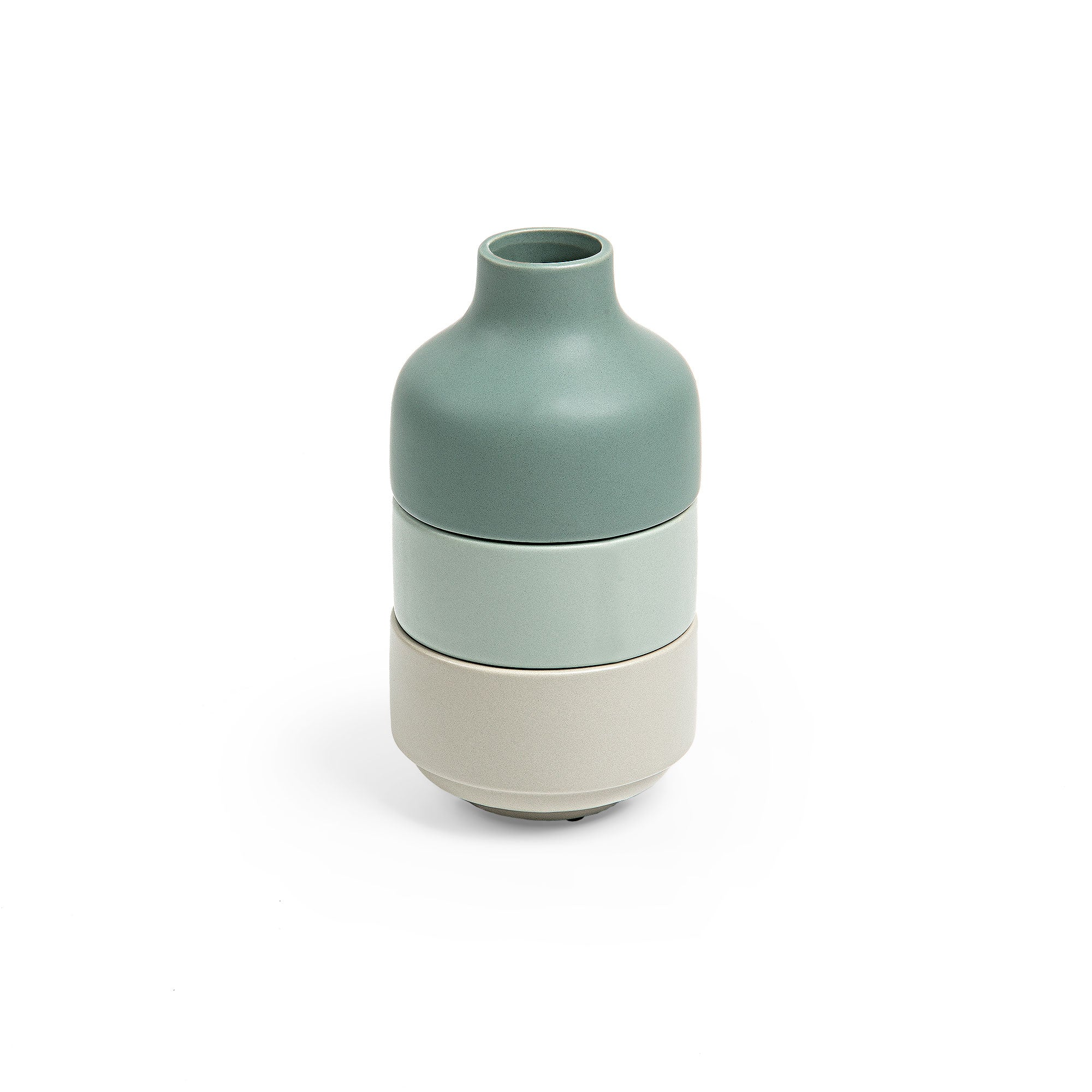 Taylor Vase - Stackable Vase with Bowls with Green, Beige & Grey Finish, Vase - Home-Buy Interiors