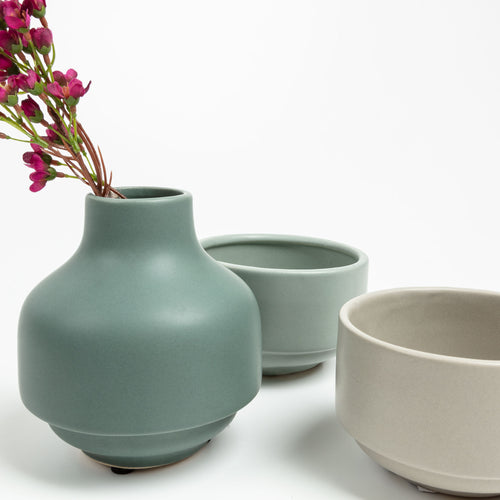 Taylor Vase - Stackable Vase with Bowls with Green, Beige & Grey Finish - Home-Buy Interiors