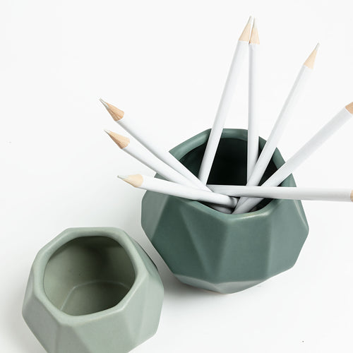 Hailey Planters - Set of 2 Ceramic Planters with a Matt Green Finish, Planters - Home-Buy Interiors