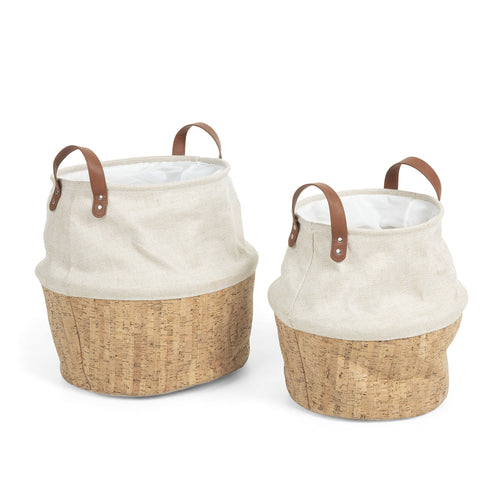Liyah Baskets - Set of 2 Cork and Beige Fabric Baskets - Home-Buy Interiors