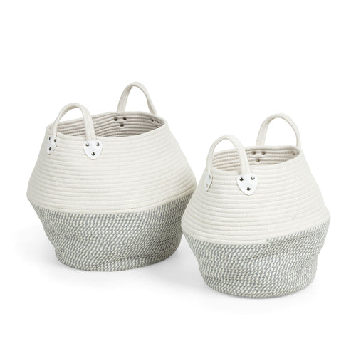 Aiden Baskets - Set of 2 Grey & White Cotton Rope Baskets, Baskets - Home-Buy Interiors