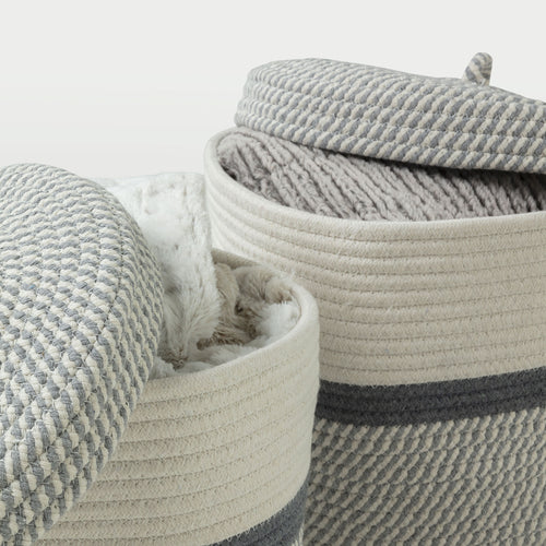 Aiden Baskets - Set of 2 Grey & White Cotton Rope Baskets with Lid, Baskets - Home-Buy Interiors