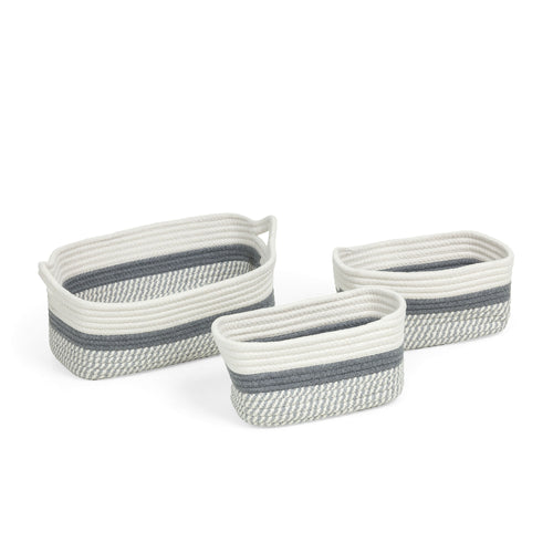 Pierce Baskets - Set of 3 Grey & White Cotton Rope Baskets, Baskets - Home-Buy Interiors