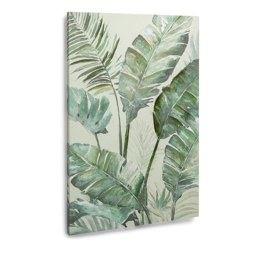 Vanos Canvas - Print with Leaves in Green Tones. The Overall size is 90 x 60 cm, Canvas - Home-Buy Interiors