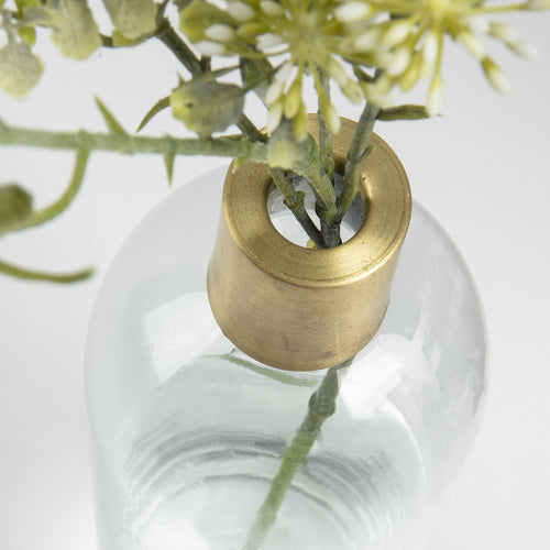 Chardonnay Vase - Made of Clear Glass with Real Brass Detail 37.5cm Tall, Vase - Home-Buy Interiors