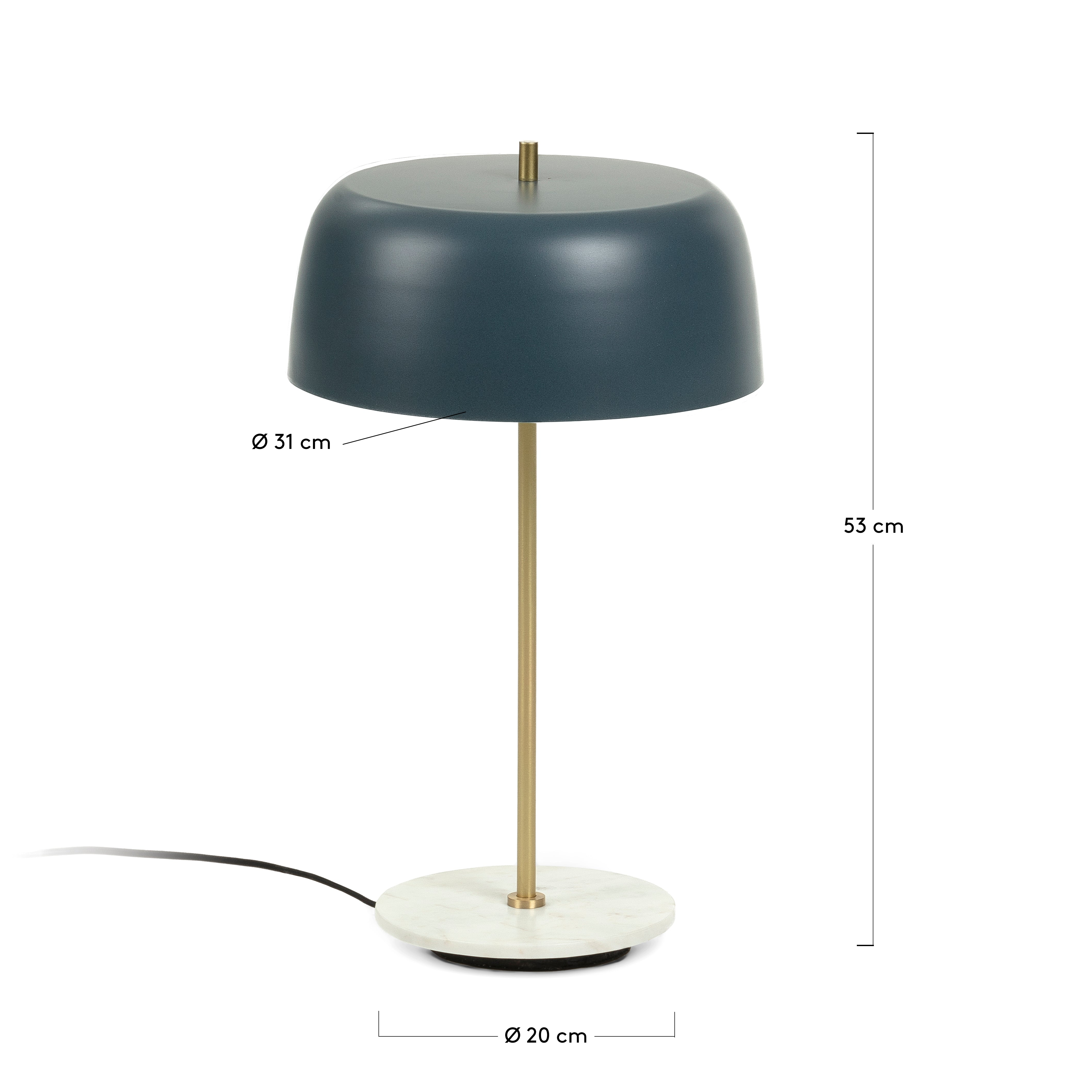 Ying Blue Metal & Marble Table lamp