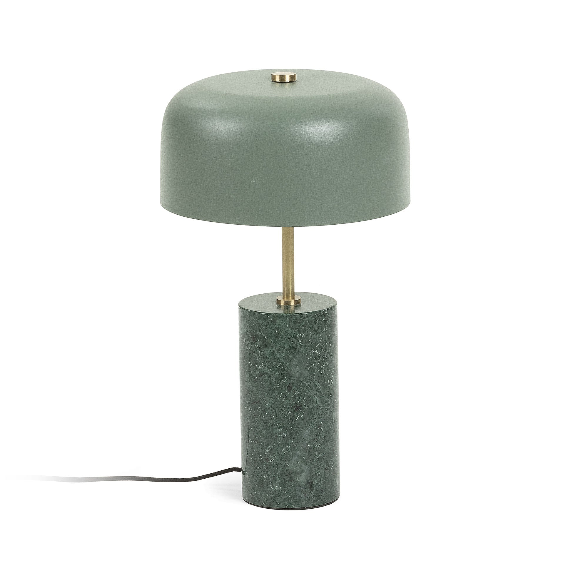 Cane Green Metal & Marble Table Lamp